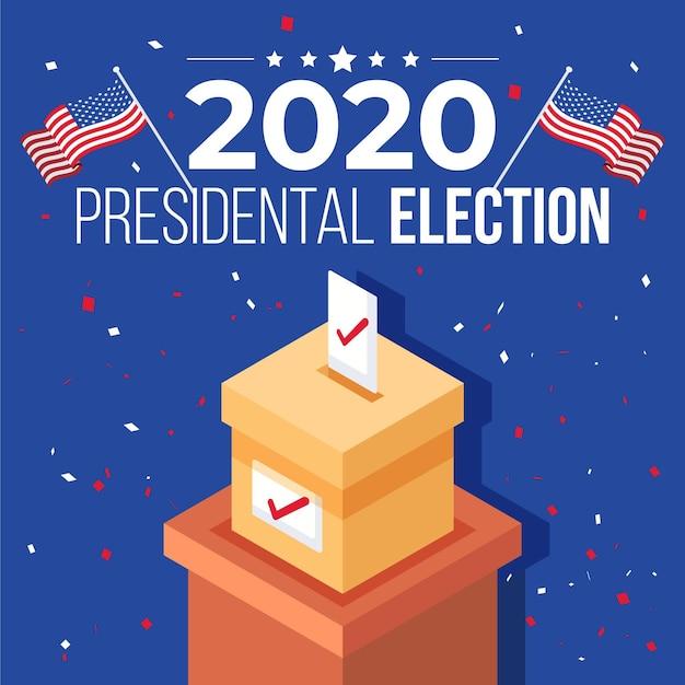 Concept De L'élection Présidentielle Américaine 2020 Avec Urne Et Drapeaux Vecteur Premium