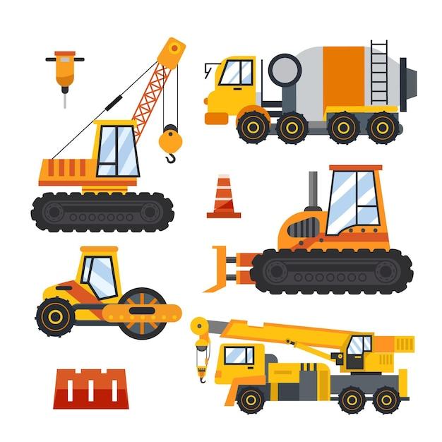 Concept D'éléments De Collection D'excavatrice Vecteur gratuit