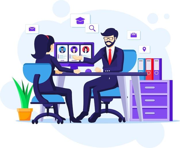 Concept D'embauche Et De Recrutement, Une Femme Assise Au Bureau Avec Un Costume Dans Une Illustration D'entrevue D'emploi Vecteur Premium