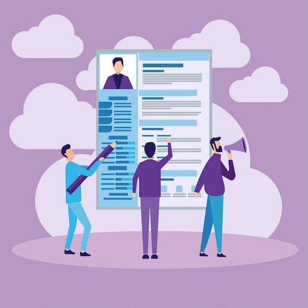 Concept d'embauche et de recrutement Vecteur Premium