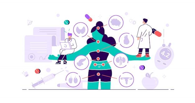 Concept D'endocrinologie. De Minuscules Hormones Maladies Des Personnes Direction Du Système Endocrinien De La Médecine Et De La Biologie Abstraites. Recherche Sur Le Traitement Comportemental Ou Comparatif. Problème De Glande Anatomique. Illustration Vecteur Premium