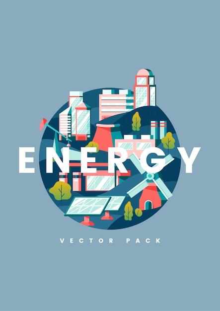 Concept d'énergie en bleu Vecteur gratuit