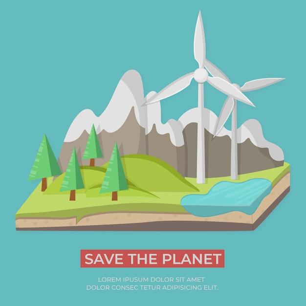 Concept d'énergie verte Vecteur Premium