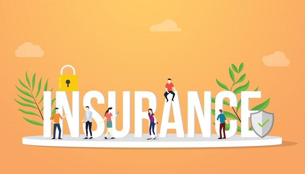 Concept d'entreprise d'assurance gros texte avec des personnes Vecteur Premium