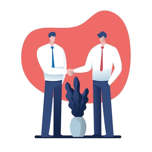 Concept d'entreprise et de bureau - deux hommes d'affaires se serrant la main Vecteur Premium