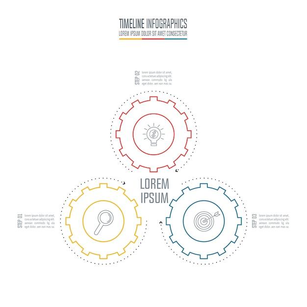 Concept d'entreprise de conception infographique avec 3 options. Vecteur Premium