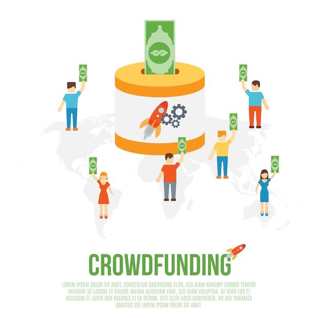 Concept d'entreprise de crowdfunding Vecteur Premium