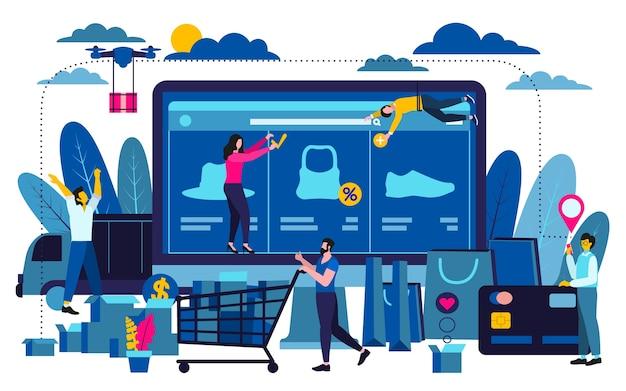 Concept d'entreprise de design plat moderne pour les achats en ligne à utiliser pour la conception web. Vecteur Premium