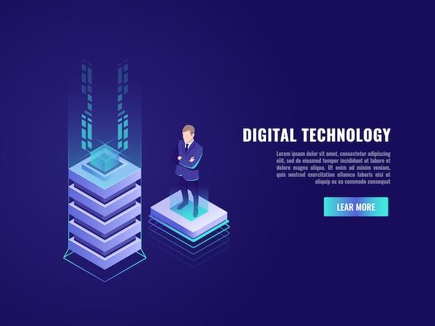 Concept d'entreprise avec élément de technologie informatique Vecteur gratuit