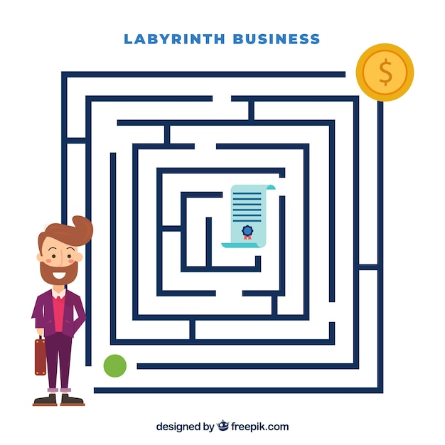Concept D'entreprise Avec Labyrinthe Plat Vecteur Premium