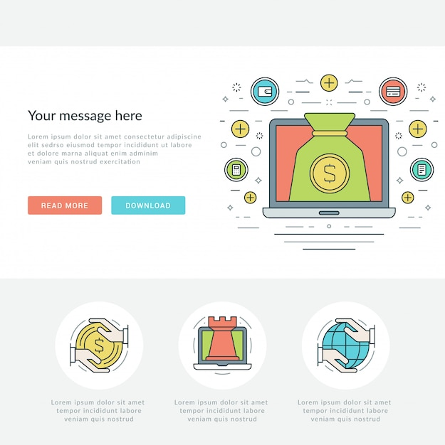 Concept d'entreprise en ligne ligne plate illustration vectorielle. Vecteur Premium