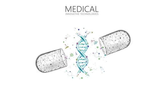 Concept D'entreprise De Médecine Capsule Médicament Ouvert. Adn Thérapie Génique Médicament Bleu Prébiotique Balle Probiotique Soins De Santé Guérir La Maladie. Vitamine Antibiotique Nutrition Médicale Low Poly Illustration Vecteur Premium