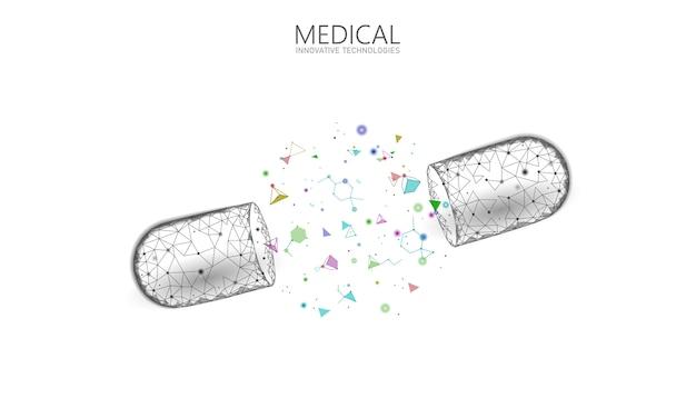 Concept D'entreprise De Médecine Capsule Médicament Ouvert. Bannière Bleu Brillant Médicament Prébiotique Balle Probiotique Soins De Santé Guérir La Maladie. Vitamine Antibiotique Nutrition Médicale Low Poly Illustration Vecteur Premium