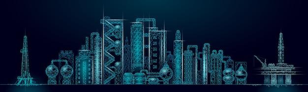 Concept D'entreprise Panorama Complexe De Raffinerie De Pétrole. Usine De Production Pétrochimique Polygonale De L'économie Financière. L'industrie Du Carburant Pétrolier S'acheminera. Solution écologique Bleu Vecteur Premium