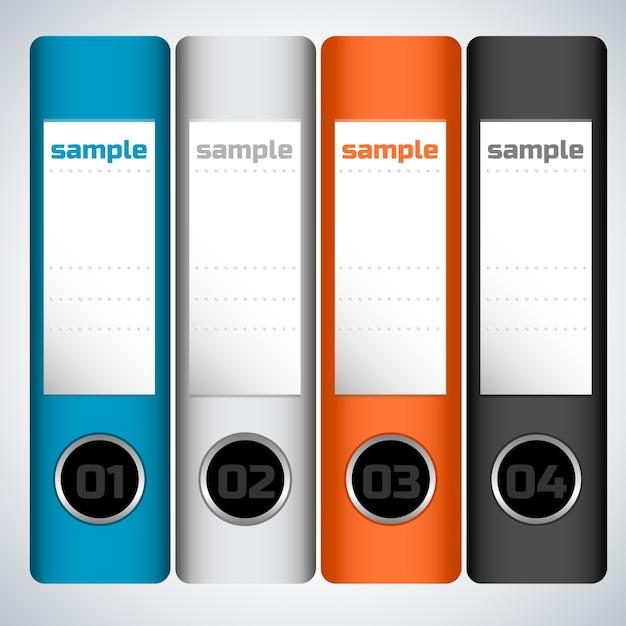 Concept D'entreprise Plat Avec Des Dossiers Numérotés Colorés Avec échantillon Vecteur gratuit