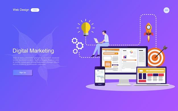 Concept d'entreprise pour le marketing numérique. Vecteur Premium