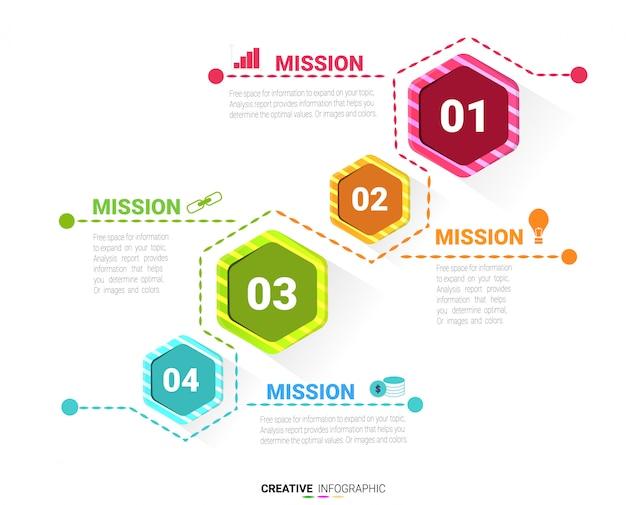 Concept d'entreprise avec quatre options. Vecteur Premium