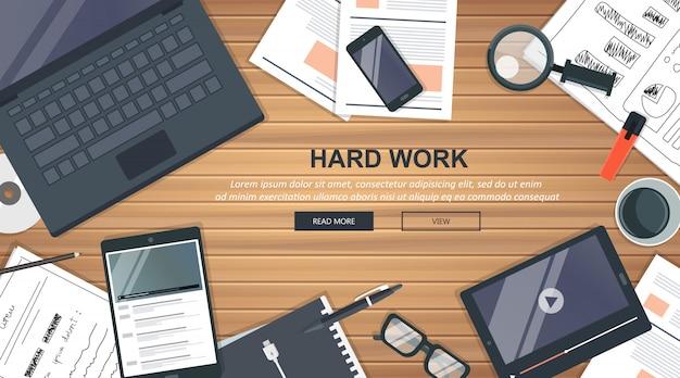 Concept d'entreprise de travail acharné Vecteur Premium