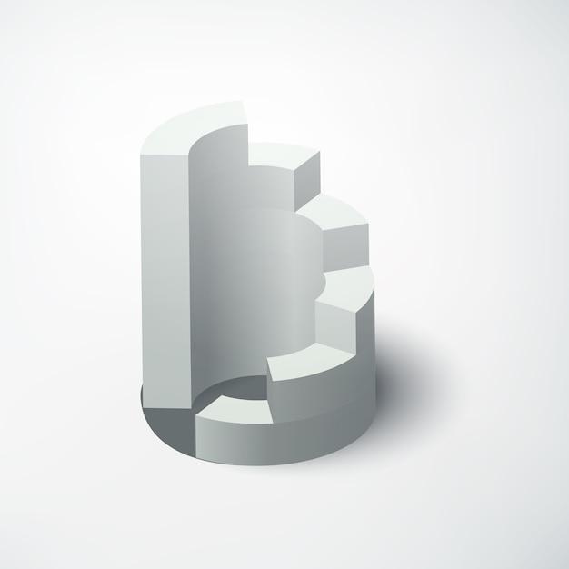 Concept D'entreprise Web Abstrait Avec Diagramme 3d Réaliste Sur Blanc Isolé Vecteur gratuit