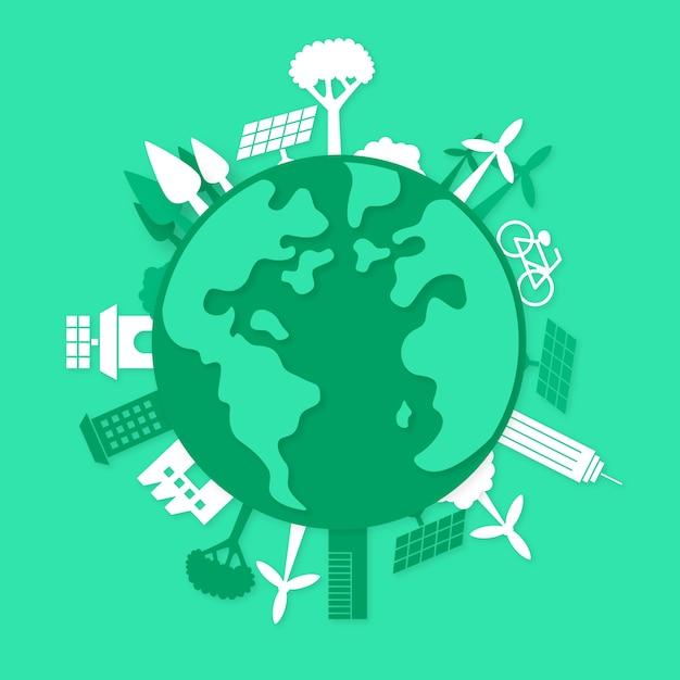 Concept Environnemental Dans Le Style Du Papier Vecteur gratuit