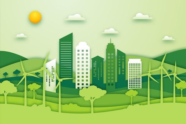 Concept Environnemental De La Ville Dans Le Style Du Papier Vecteur gratuit