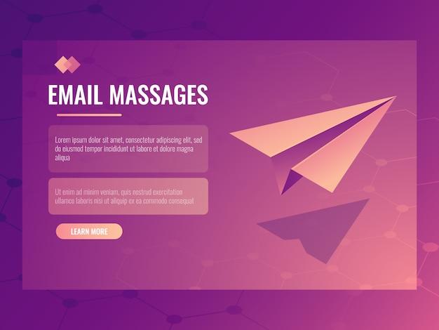 Concept d'envoi d'e-mails et de messages, petit avion en papier isométrique, bannière d'envoi Vecteur gratuit
