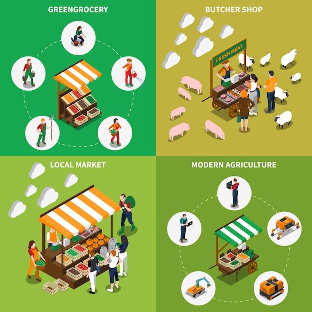 Concept de épicerie locale Vecteur gratuit