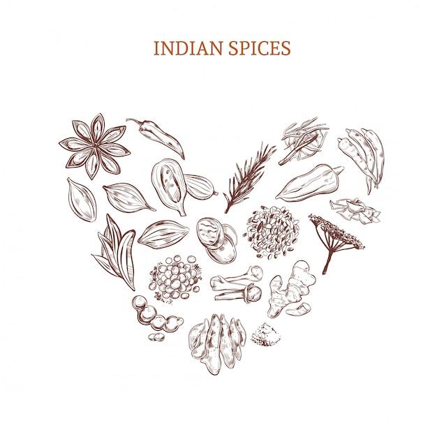 Concept D'épices Indiennes Dessinés à La Main Vecteur gratuit