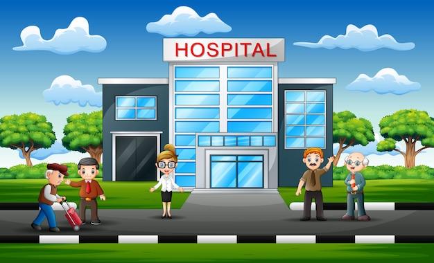 Concept d'équipe médicale en face de l'hôpital Vecteur Premium