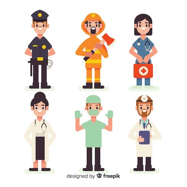 Concept d'équipe d'urgence plat Vecteur gratuit
