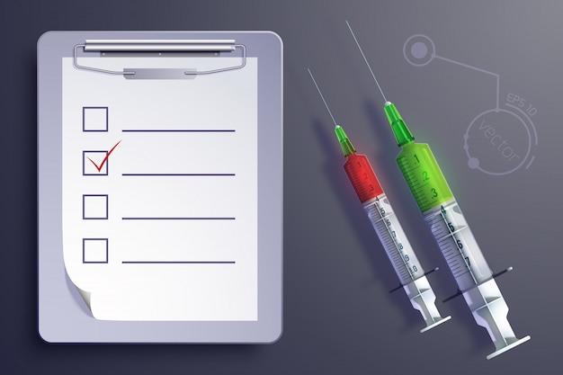 Concept D'équipement Médical Avec Feuille De Papier De Presse-papiers De Seringues Dans Un Style Réaliste Isolé Vecteur gratuit