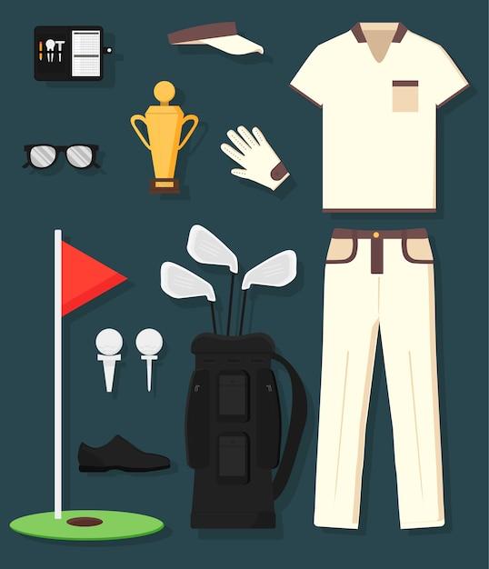 Concept d'équipement et de vêtements de golf détaillés: trophée, sac, club, balle, drapeau, casquette, gants, chemise, chaussures, casseroles. sport de l'homme. Vecteur Premium