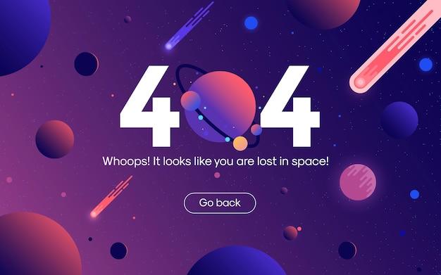 Le Concept D'espace Ouvert De Page Web D'erreur 404 Entre Différentes Planètes Vecteur Premium