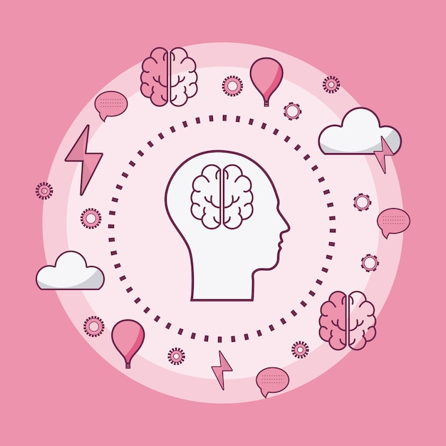 Concept de l'esprit humain Vecteur Premium