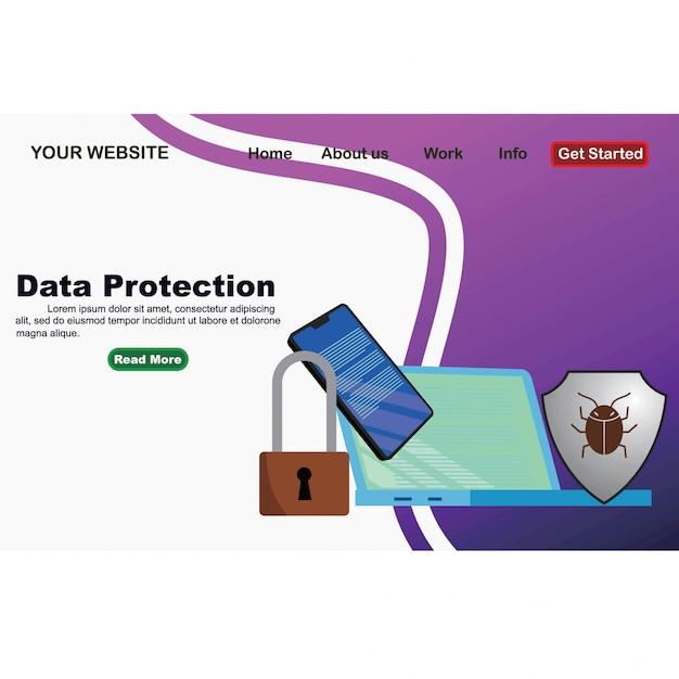 Le concept, c'est la sécurité des données Vecteur Premium