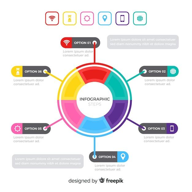 Concept d'étapes d'infographie dans un style plat Vecteur gratuit