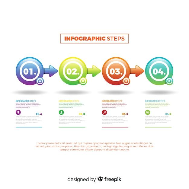 Concept D'étapes Infographie Dégradé Moderne Vecteur gratuit