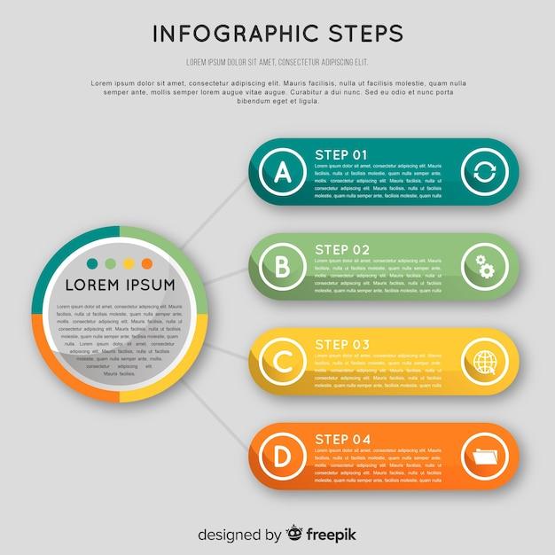 Concept d'étapes infographique coloré en design plat Vecteur gratuit