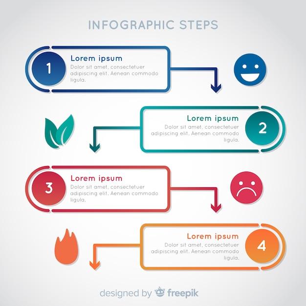 Concept D'étapes Infographique Dégradé Coloré Vecteur gratuit