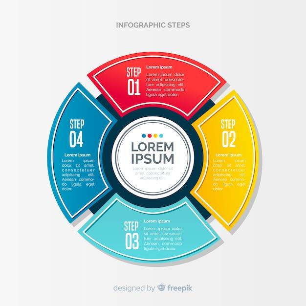 Concept d'étapes infographique plat coloré Vecteur gratuit