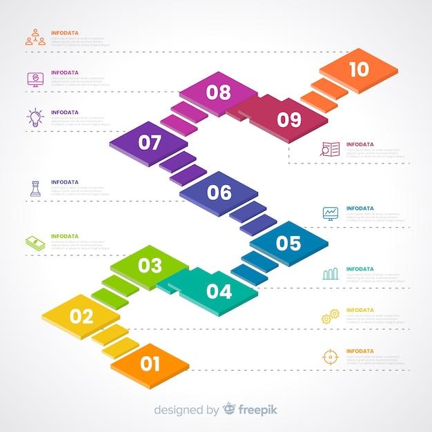 Concept d'étapes infographiques coloré Vecteur gratuit
