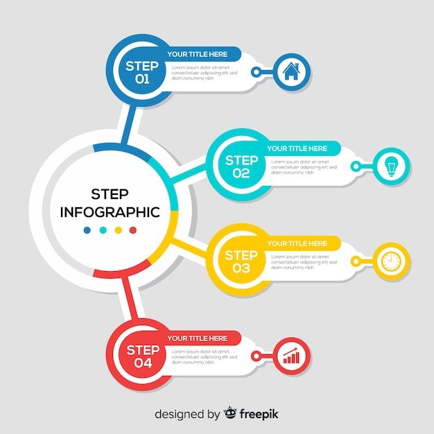 Concept d'étapes infographiques plat Vecteur gratuit