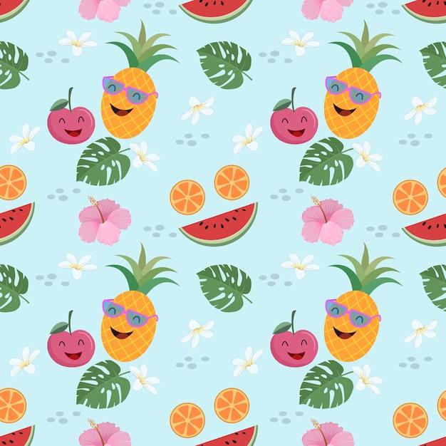 Concept de l'été mignonne fruit vecteur modèle sans couture. Vecteur Premium