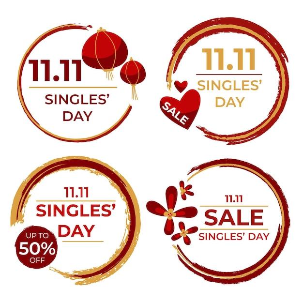 Concept D'étiquettes De Jour Des Célibataires Vecteur gratuit