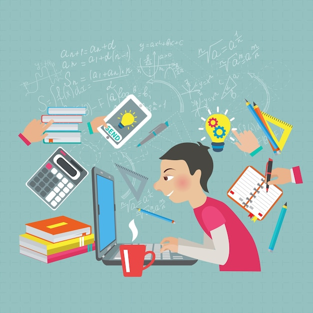 Concept d'étudiant en mathématiques Vecteur gratuit