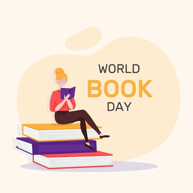 Concept D'événement De La Journée Mondiale Du Livre Design Plat Vecteur Premium