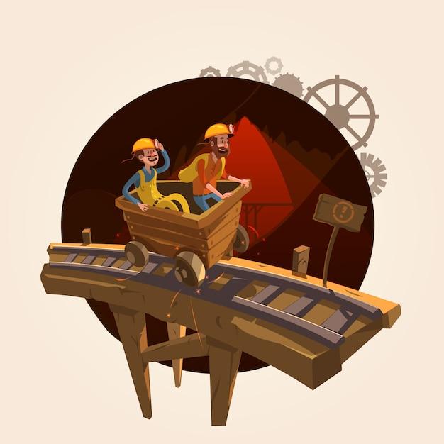 Concept d'exploitation minière avec des travailleurs chevauchant un style de dessin animé rétro chariot à charbon Vecteur gratuit