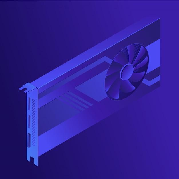 Concept D'exploration De Gpu Isométrique. Vecteur Premium