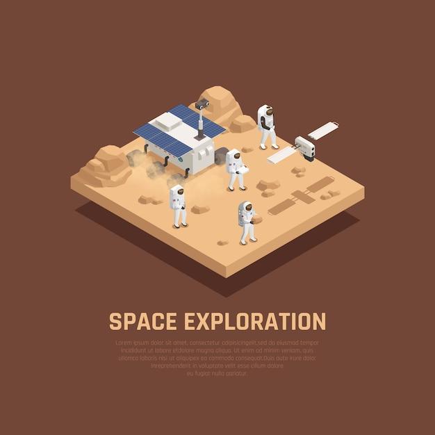 Concept D'exploration Spatiale Avec La Planète Sufrace Symboles De Recherche Illustration Isométrique Vecteur gratuit