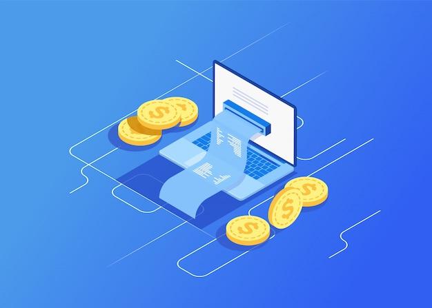 Concept de facture électronique et de banque en ligne, ordinateur portable avec du ruban adhésif Vecteur Premium
